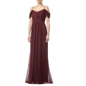 Adrianna Papell Wine Red Tulle Draped Gown Dress